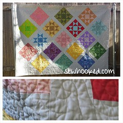 Pop Star, designed and made by me, quilted by a friend and gifted earlier this week!  The bottom pic is after washing. Scrunchy, delicious quilting! #quilt #gift