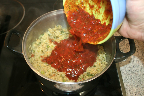 30 - Tomatenmischung zum Reis geben / Add tomato mix to rice