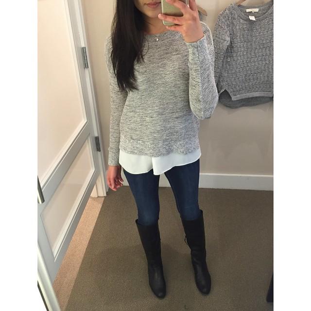 LOFT Marled Knit Bateau Sweater, size SP