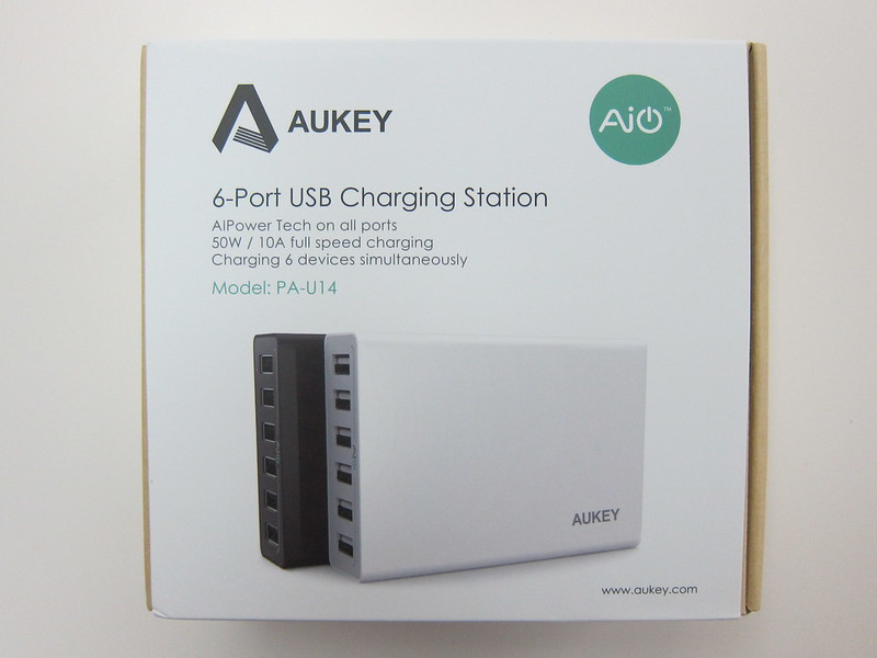 Aukey 50W 5V/10A 6-Port Wall Charger - Box Front