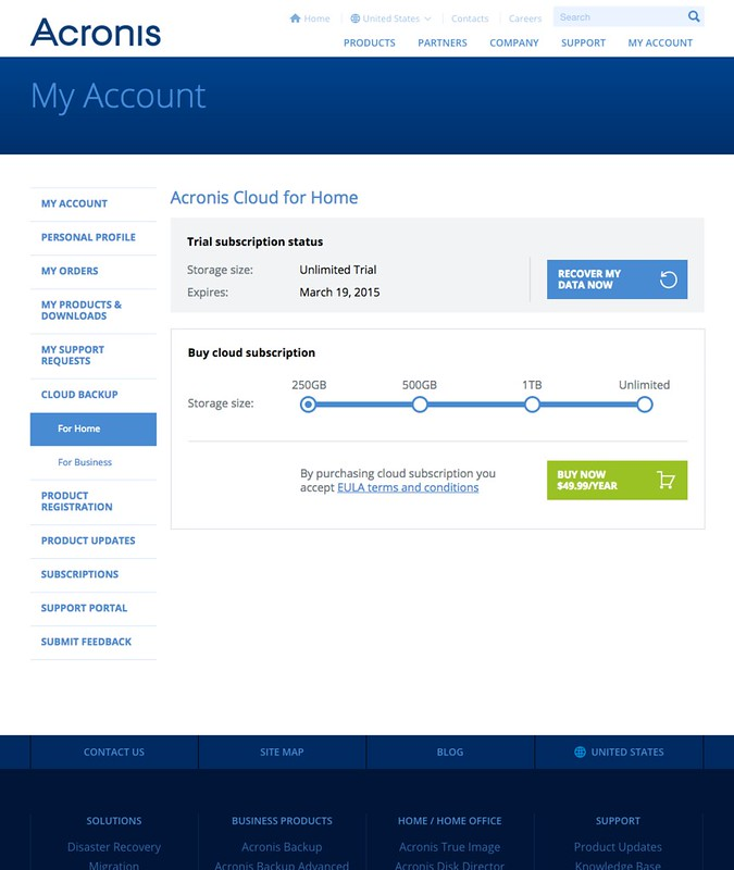 Acronis True Image 2015 - Web Interface - Acronis Cloud Home