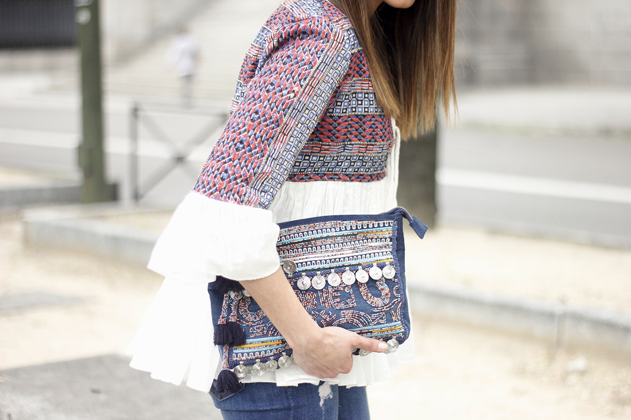 embroidered jacket jeans heels accesories spring style fashion outfit04