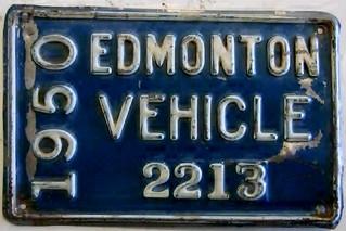 EDMONTON 1950 ---EDMONTON VEHICLE SUPPLEMENTAL LICENSE PLATE