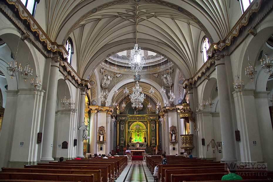 Inside one of Lima's many spectacular churches.