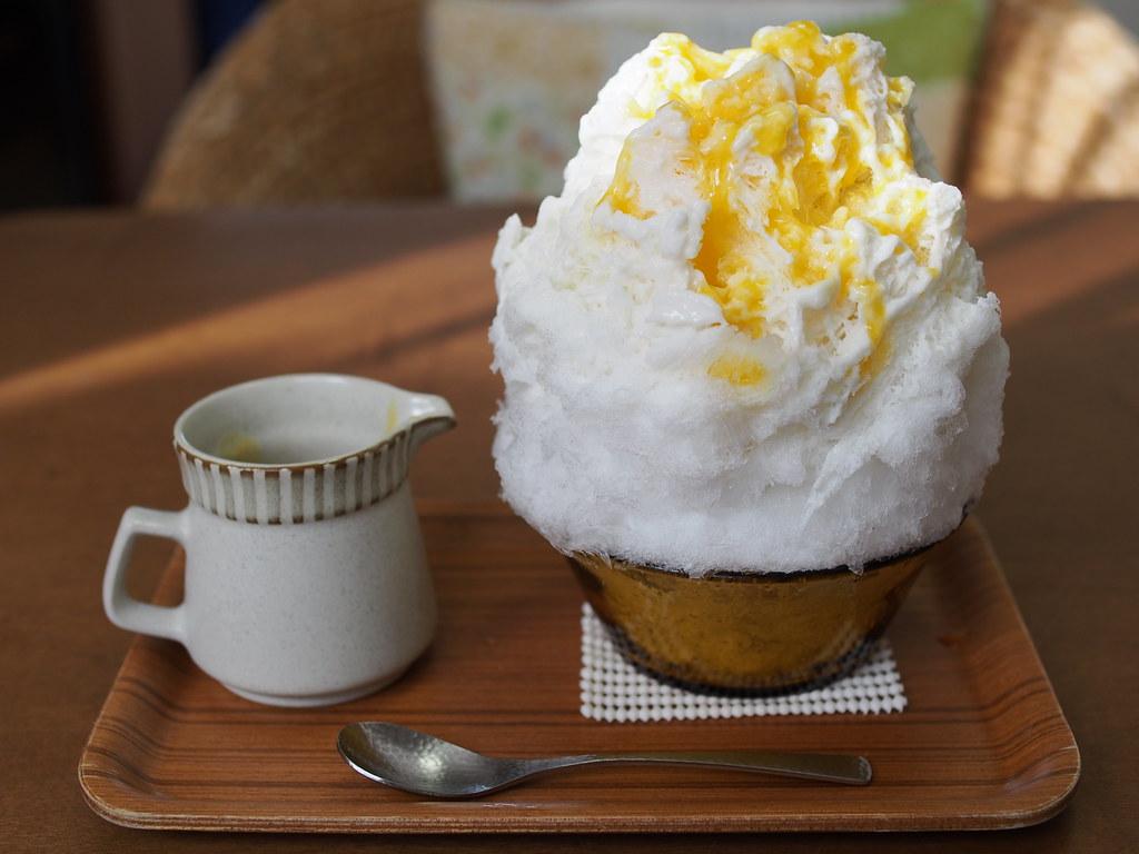 Japanese Shaved Ice Dessert - Coconut Condensed Milk & Mango Sour