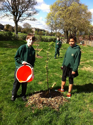 St Mary's School Pupils help out Children's Orchard