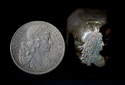 Charles II Petition Crown (L) and Charles II portrait punch (R)