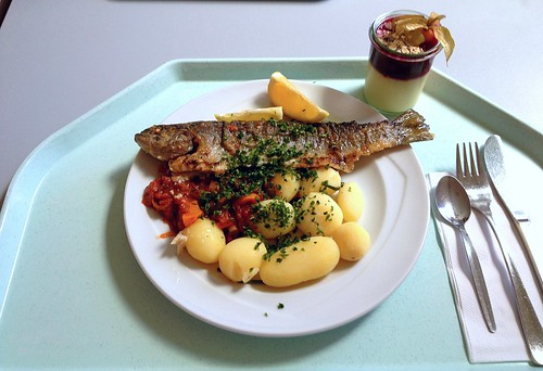 "Forelle ""Balkan Art"" mit Kartoffeln / Trout balkan style with potatoes"