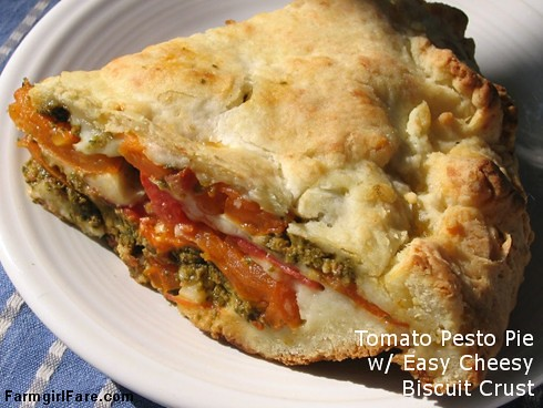 Savory tomato, mozzarella, and basil pesto pie with an easy cheesy biscuit crust - FarmgirlFare.com