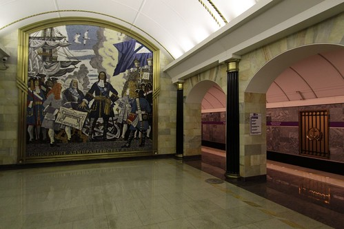 Mural at platform level at Admiralteyskaya (Адмиралте́йская) station on Line 5