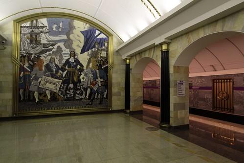 Mural at platform level at Admiralteyskaya (Адмиралте́йская) station on Line 5
