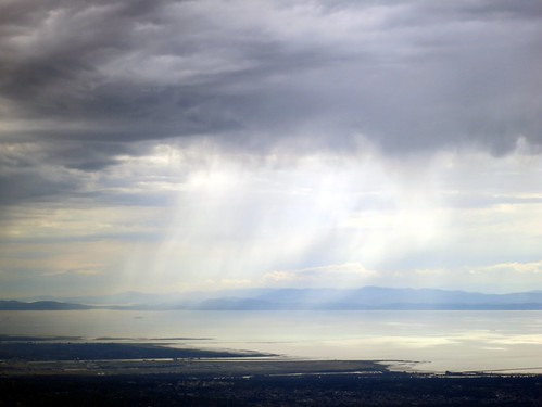 Rain showers over Georgia Strait
