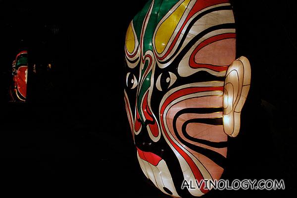 Giant oriental mask lanterns