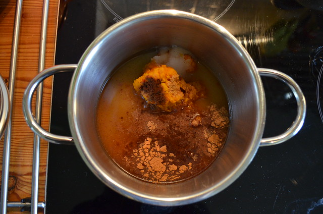 Pumpkin spice syrup into the pan