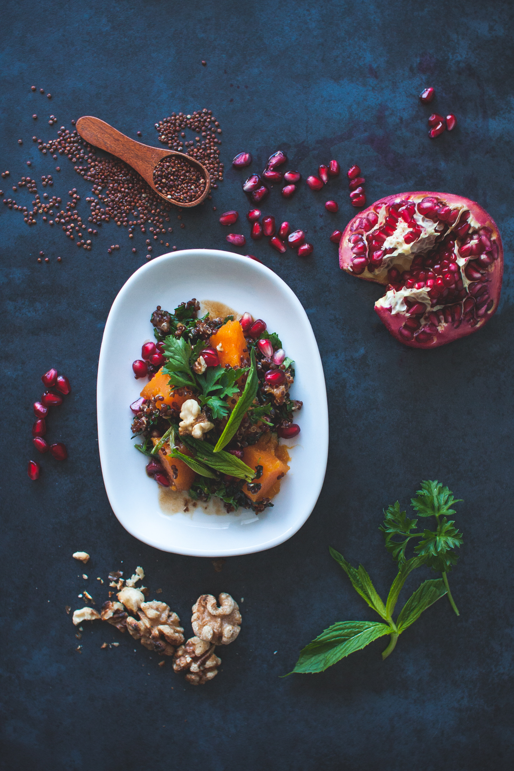 Roast Sweet Potato, Quinoa, Pomegranate, Walnut & Herb Salad