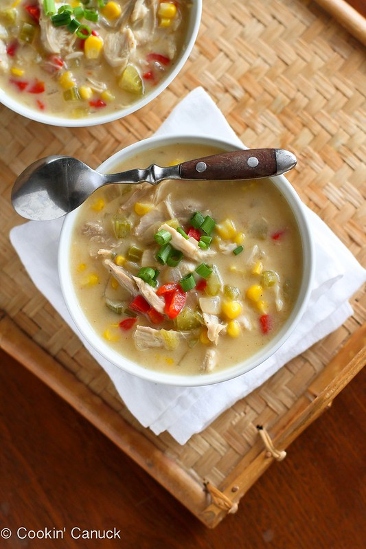 Light Turkey (or Chicken) and Corn Chowder Recipe...218 calories and 6 Weight Watchers PP | cookincanuck.com #healthy #soup