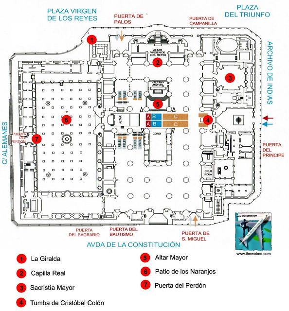 Mapa de la Catedral de Sevilla con sus principales puntos de interés Catedral de Sevilla, sepulcro de la historia de américa - 11121351904 461427a124 z - Catedral de Sevilla, sepulcro de la historia de américa