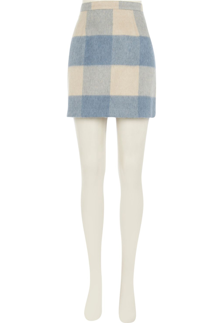 Light blue brushed check mini skirt