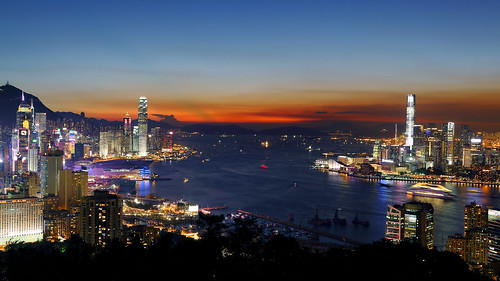 sunset skyline skyscraper hongkong hill 香港 icc ifc 日落 highview 維多利亞港 braemer 摩天大樓 天際線
