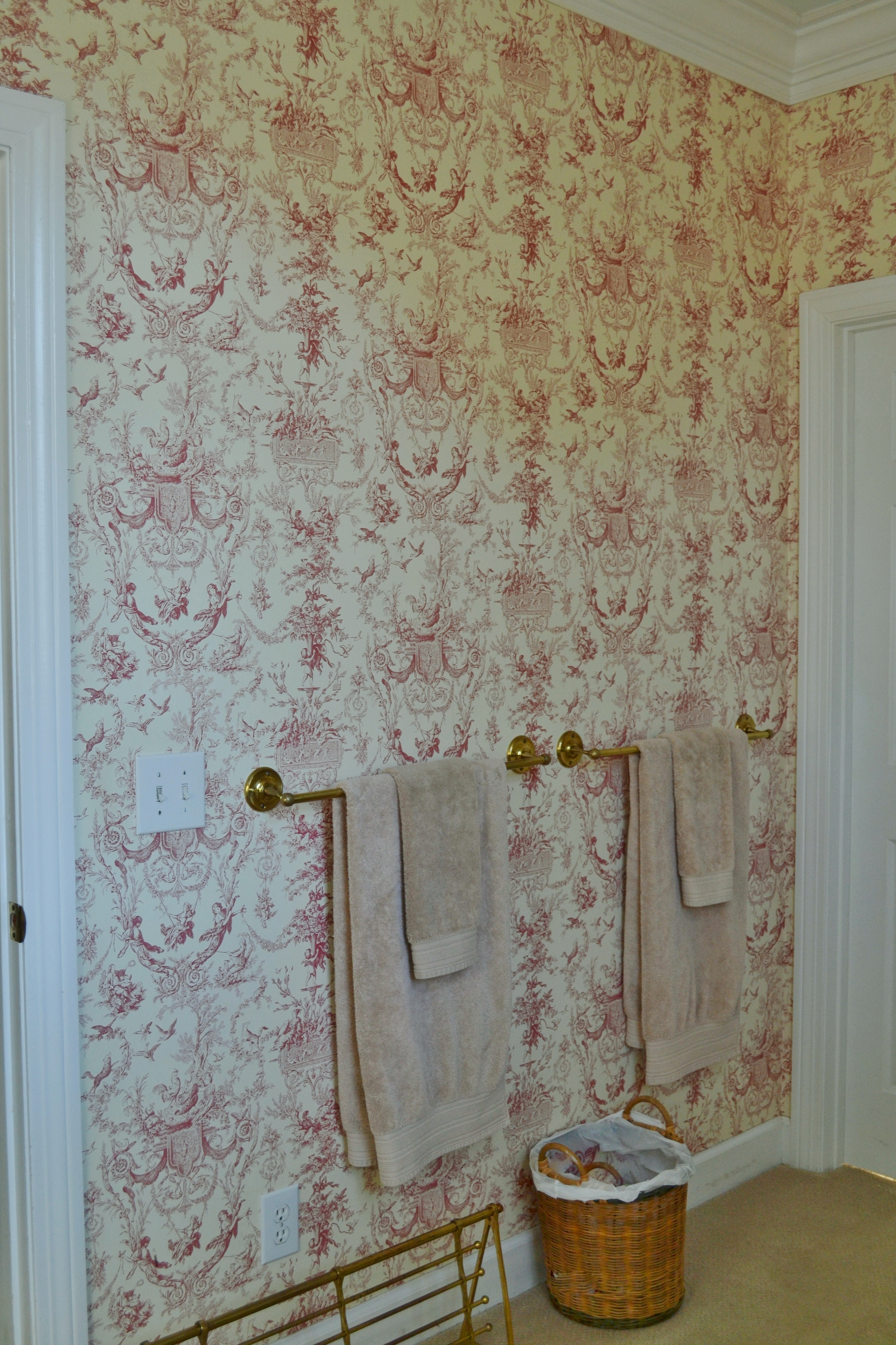 red toile walpaper