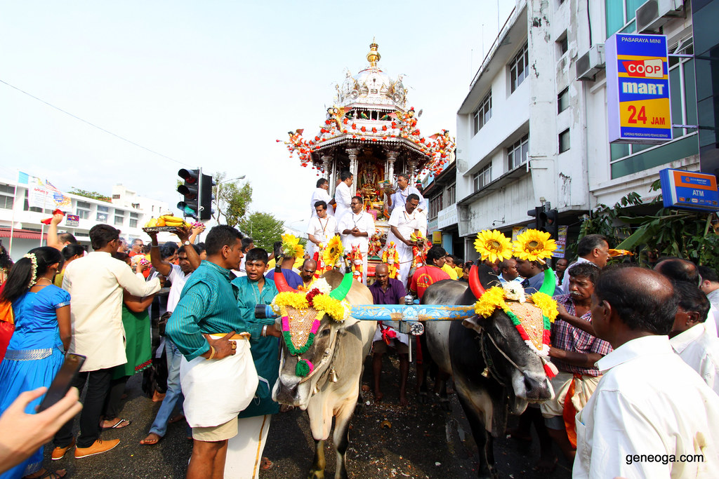 Silver chariot with the statue of Lord Muruga