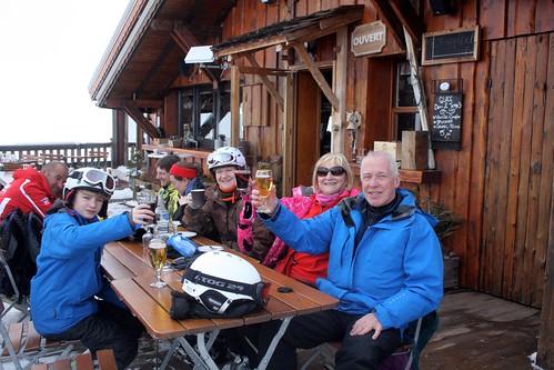 Lunchtime drink, La Plage de Nieges, Alpe D'Huez