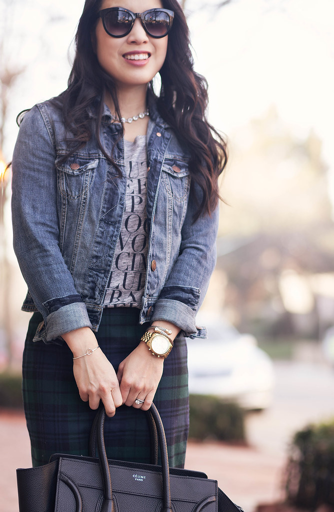 cute & little blog | denim jean jacket, graphic j. crew tee, plaid pencil skirt, gray ankle boots outfit
