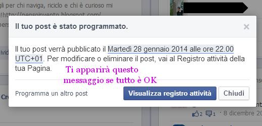 come programmare i post su facebook, programazzioneFB3a