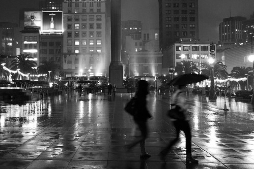 Square in the rain