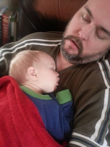 sick baby will only sleep with papa