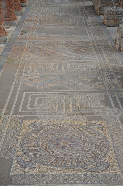 Mosaic floor in the House of the Fountains with fish, geometric pattern and labyrinths, Conimbriga, Lusitania, Portugal