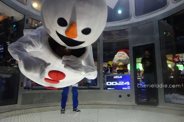 Snowman & Santa flying at iFly Singapore