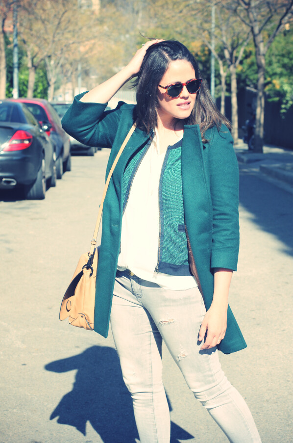 Look: Grey + Green coat