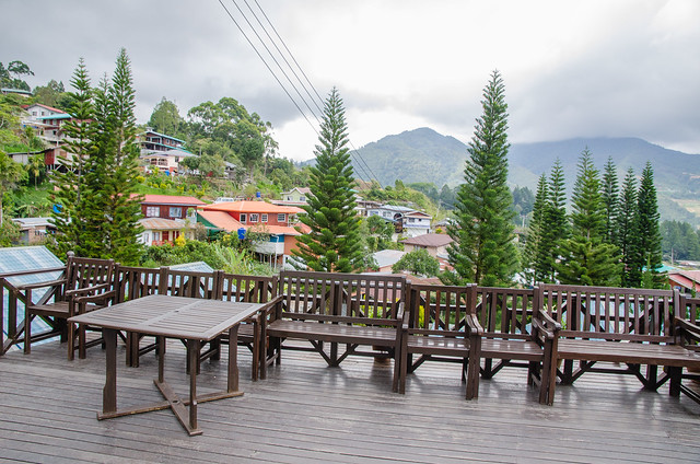 A cozy platform to relax and admiring the Mount Kinabalu