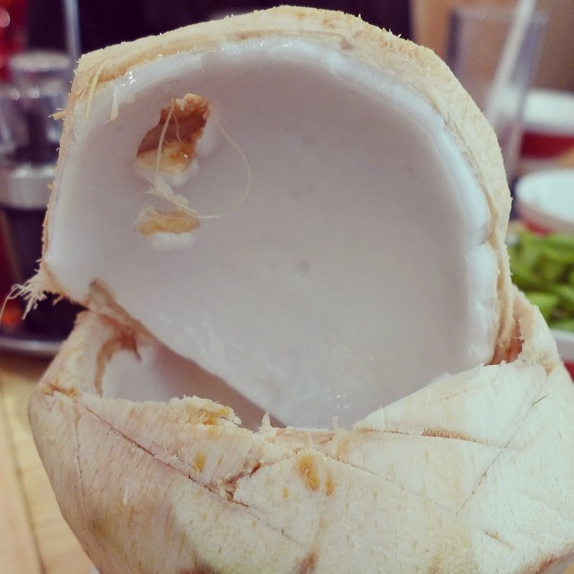 how to crack open a young coconut