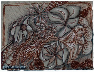 Fantasy Floral on Gray by Sharla R. Hicks, Certified Zentangle Teacher CZT