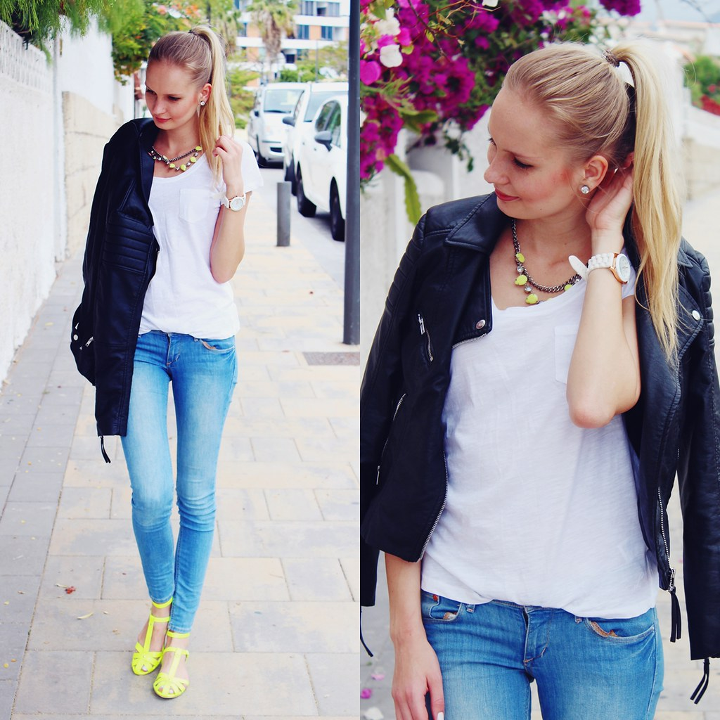 neon sandals, moto biker leather jacket, light blue skinny jeans. H&M, Bershka