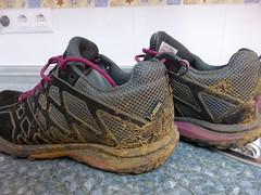 Zapatillas llenas de barro en el Camino de Santiago