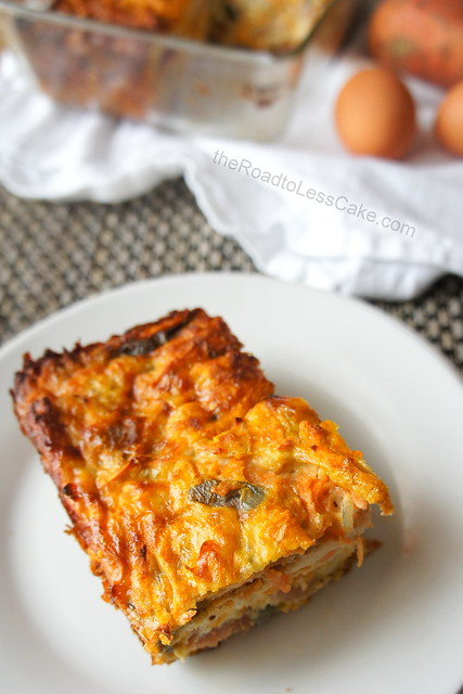 Sweet potato and bacon frittata slice on a plate