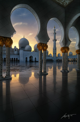 sunset shadow sun clouds lights nikon top uae grand mosque zayed abudhabi dome marble sheikh blending d300s