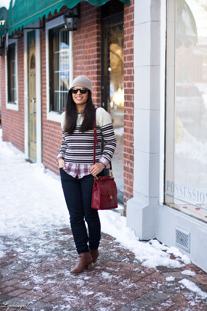 stripes and plaid, red coach bag, beanie.jpg