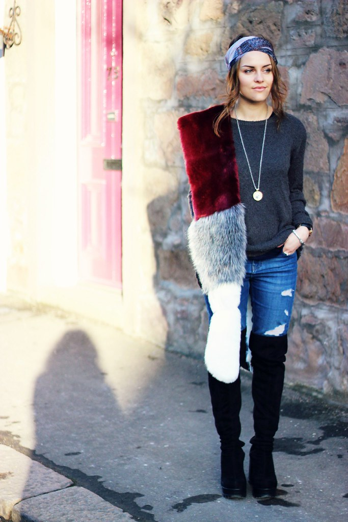 Missguided colour block fur stole 1