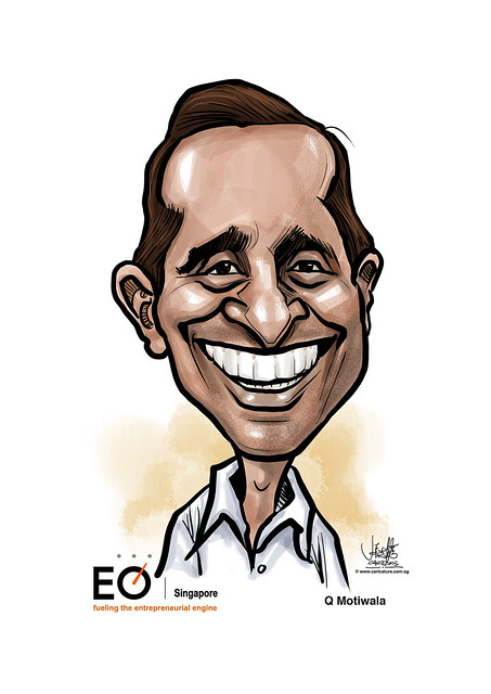 digital caricature for EO Singapore - Q Motiwala