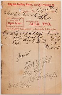 Kingston Bottling Works Invoice- Joseph Yanch 1906