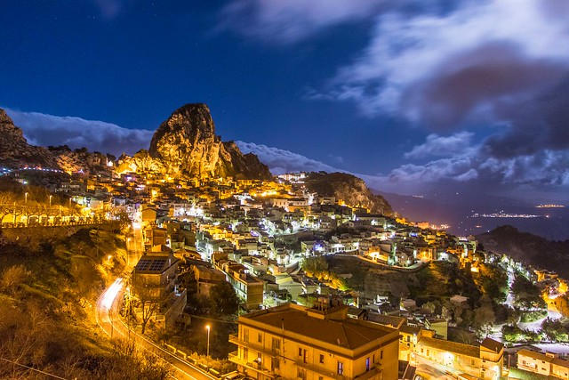 Caltabellotta, Sicily, under a full moon.