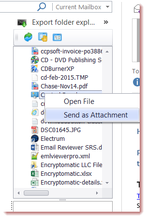 "Screen shot of the Outlook file explorer's ""right click"" functions. It shows ""Open File"" and ""Send as attachment."""