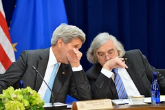 U.S. Secretary of State John Kerry chats with U.S. Secretary of Energy Dr. Ernest Moniz during the seventh U.S.-EU Energy Council meeting on May 4, 2016, at the U.S. Department of State in Washington, D.C. [State Department photo/ Public Domain]