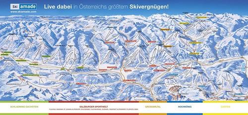 Ski amadé - mapa sjezdovek