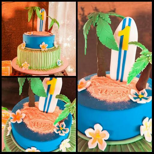 Luau Themed Two-Tier Cake by Rose Zepeda of Rich Angelo's Sweet Delights