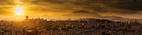 sky sun mountains yellow fog sunrise landscape dawn haze glow cityscape hazy southkorea lowsun hazysun gwangjusouthkorea